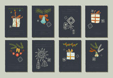 Hand drawn collection of romantic invitations to Christmas and New Year. 8 gentle cards. Isolated. No transparency. No gradients vector illustration
