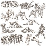 RUGBY - An hand drawn freehand collection. Line art pack of some Royalty Free Stock Image