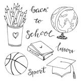 Hand drawn collection with school stationery icons. Vector doodle set. Back to school Royalty Free Stock Images