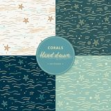 Sea seamless patterns with corals. Hand-drawn collection of marine seamless patterns with additional elements in different colors. royalty free illustration