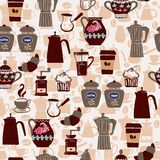Hand-drawn collection Seamless pattern coffee icons