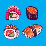 Hand drawn collection set Japanese food. vector illustration