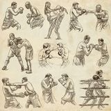 Box. Boxing Sport. Collection of boxing positions of some sportm Royalty Free Stock Image