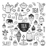 Hand drawn collection tea time Stock Image
