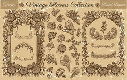Hand drawn collection with vector engraved flowers and old filigree frames Stock Photography