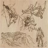 An hand drawn collection, vector pack - CLIMBING. Outdoor, Climb. An hand drawn collection, vector pack - CLIMBING. Outdoor activities, Climbers climb the rocks Stock Photography