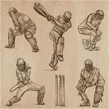 Cricket sport collection. Cricketers. An  hand drawn vector pack Royalty Free Stock Photos