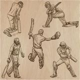 Cricket sport collection. Cricketers. An  hand drawn vector pack Royalty Free Stock Photography