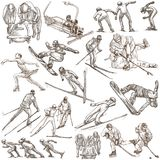 Winter Sport. An hand drawn full sized pack. Hand drawing on whi. An hand drawn collection. Winer Sport. Pack on white, isolated. Full sized hand drawings. Line Stock Images