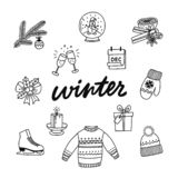 Hand drawn collection of winter attributes. stock illustration