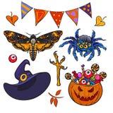Cartoon Halloween set. Hand drawn collection of witch craft deaths head hawk moth, spider, witch hat, eyeball, pumpkin stock illustration
