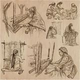 Working class heroes - an hand drawn collection. Line art techni. An hand drawn collection. WORKING CLASS heroes - processing of sewing materials. Job. Set of Royalty Free Stock Photography