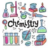 Hand drawn color chemistry and science icons set. Collection of laboratory equipment in doodle style. Kid chemical lab and science stock illustration