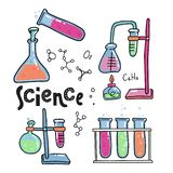 Hand drawn color chemistry and science icons set. Collection of laboratory equipment in doodle style. Kid chemistry and science vector illustration