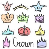 Hand drawn color crowns logo and icon  design set collection. Hand drawn color crowns logo and icon design set collection, eps 10 Royalty Free Stock Images