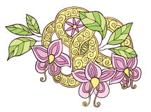 Hand drawn color doodle flowers, leafs and ribbon with swirl Royalty Free Stock Photo