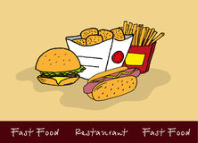 Hand-drawn color fast food set Royalty Free Stock Images