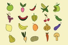 Hand Drawn color fruit and vegetable set. Stock Photography