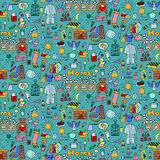 Hand drawn color Home seamless pattern Stock Image