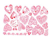 Hand-drawn color lines set of red intricate abstract love hearts stickers with ornaments isolated on white background. Hand-drawn color lines set of red stock illustration