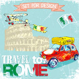 Hand drawn , color penсil funny red car, background trip to Rome Stock Image