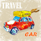 Hand drawn, color penсil. funny red car,bag Stock Photos