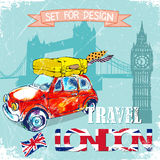 Hand drawn , color penсil funny red car, travel to London.vector illustration Royalty Free Stock Image