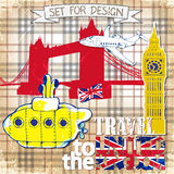 Hand drawn , color penсil yellow Submarine, travel to the United Kingdom Stock Photos
