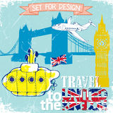 Hand drawn , color penсil yellow Submarine, travel to the United Kingdom .vector illustration Royalty Free Stock Photos