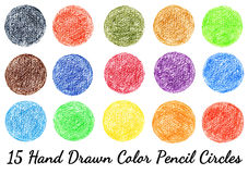 15 hand-drawn color pencil texture circles isolated Royalty Free Stock Photography