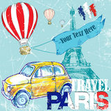 Hand drawn, color penсil funny yellow car, travel to Paris, air ballon Royalty Free Stock Images