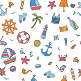 Hand drawn color seamless pattern with nautical elements. Nautic Royalty Free Stock Images