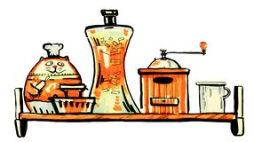 Hand drawn color sketch of kitchen shelf. With cooking accessories from the front view on white background Royalty Free Stock Images