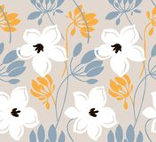 Hand drawn color vector seamless pattern. Abstract flowers with leaves, sketch drawing. Scandinavian style cartoon floral texture. vector illustration