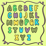 Hand drawn colored alphabet, childish design Stock Photography