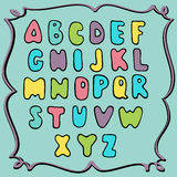 Hand drawn colored alphabet, childish design Stock Images