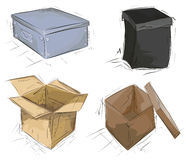 Hand drawn colored cardboard boxes Stock Image