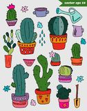 Hand drawn colored catus set royalty free illustration