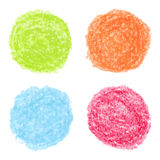 Hand drawn colored crayon spots Stock Photo
