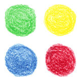 Hand drawn colored crayon spots Stock Images