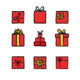 Hand drawn colored doodle icons gift boxes Royalty Free Stock Photo