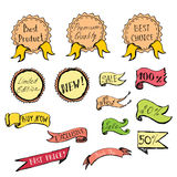 Hand Drawn colored Doodle label, ribbon and Design Elements Royalty Free Stock Photos