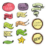 Hand Drawn colored Doodle label, ribbon and Design Elements Royalty Free Stock Photo