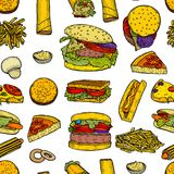 Fast food background vector illustration