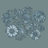 Hand drawn colored floral pattern. Pale green flowers, berries and leaves Royalty Free Stock Photos