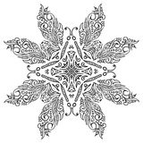 Hand-drawn colored mandala zentangl. Decorative butterflies Royalty Free Stock Images