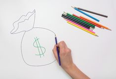 Hand drawn colored pencil bag money Stock Image