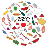Hand Drawn Colored Set of Barbecue Stock Images