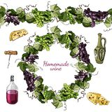 Hand drawn colored sketch different of wine product objects,endless brush and wreath of grape twig isolated on white background vector illustration