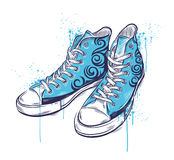 Hand drawn colored sneakers. A hand drawn colored sneakers Stock Photography